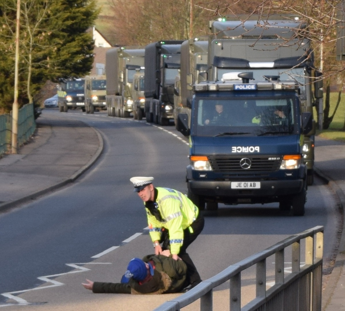 pensioner stops nuclear convoy