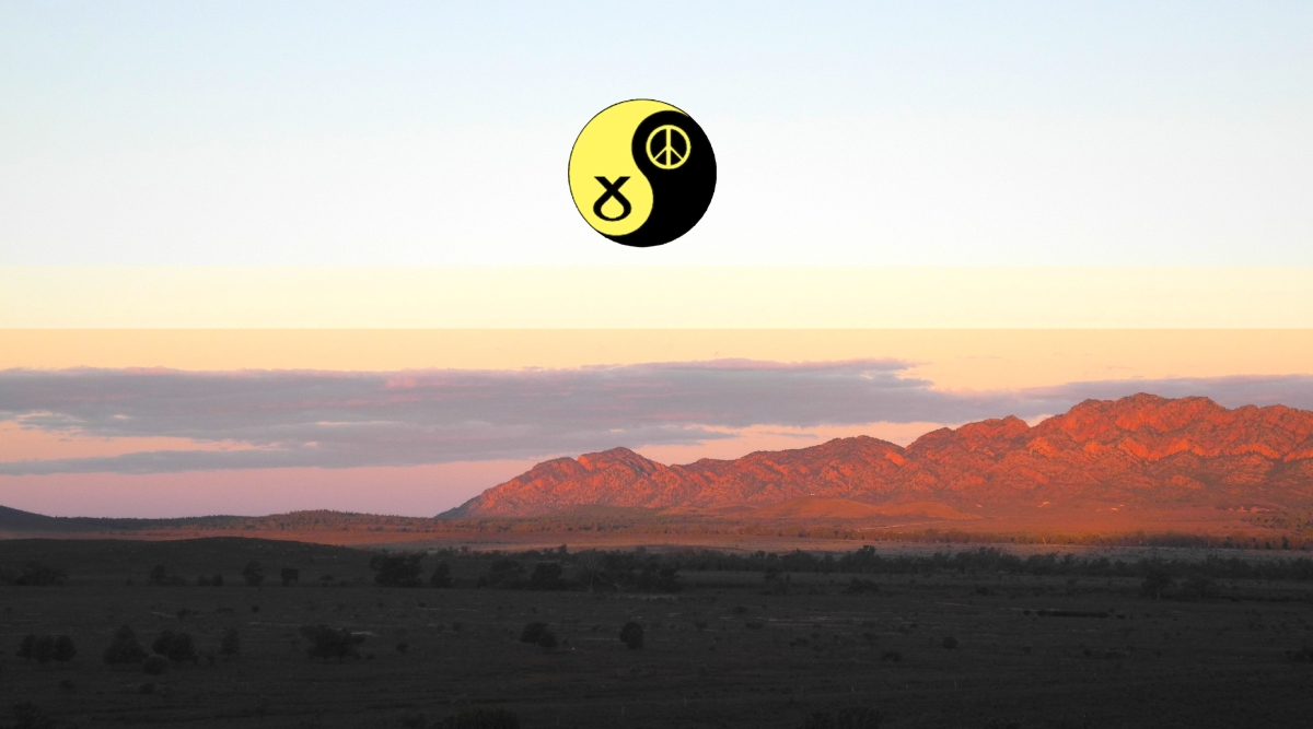 Red hills, evening sky, SNPCND logo as the moon